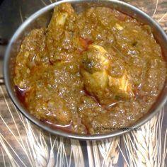 Coriander Chicken / Dhaniya Murgh | 1lb chicken, 3tbsp oil, 2onions, 2slit green chilies, 1tbsp ginger/garlic paste, 1-2 tomato, 1/4t cumin, 1/2t haldi & garam masala, 1t chilli powder & methi, 1T daniya powder, 1T yogurt, 2T daniya leaves | Saute onions. Add ginger-garlic paste & green chilies. Add chicken saute 7-8. Add all spices except garam masala. Add blended tomatoe, 1/2c water. Cook 10mins. Add yogurt & garam masala. Cook until oil floats to top. Add leaves.