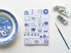 Blue Shelves A5 Notebook Blue Shelves, A5 Notebook, Lined Page, Belly Bands, Notebooks, Card Stock, Blue And White, Illustration, Prints