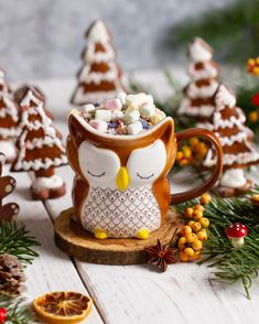 Nice cup with Best Winter Drinks, Snow Globes, Cocoa, Gingerbread, Panna Cotta, Owl, Nice, Ethnic Recipes, Desserts