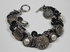 Shadows of the Night Button Bracelet Black and by TreasuredSweets, $20.00