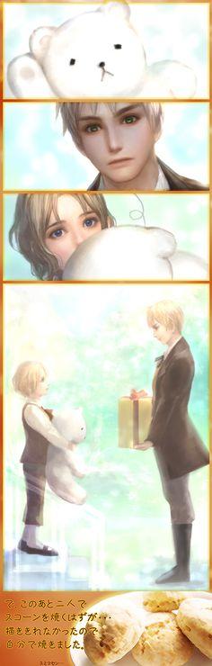 "Aw...this is a cute Erico Lotus strip - first meeting, perhaps? I love how Kumajirou's waving ""Hi"" to Arthur."