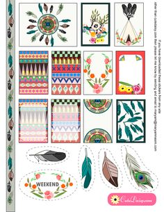 FREE ***Read terms of use. Printable Tribal Aztec Boho Stickers Sample Kit for Happy Planner and ECLP by Cutedaisy Free Planner, Happy Planner, Planner Ideas, Motifs Aztèques, Printable Planner Stickers, Free Printables, Planner Organization, Project Life, Mini Albums