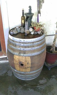 Another wine barrel fountain Wine Barrel Water Feature, Backyard Water Feature, Whiskey Barrel Fountain, Whiskey Barrels, Barrel Projects, Outdoor Projects, Wine Barrel Crafts, Garden Fountains, Water Fountains