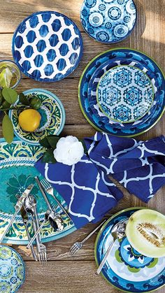 Bold suzani designs come to life on this vibrant melamine dinnerware. Made for outdoor entertaining, the collection brings the colors of sea and sky to your table with the convenience of shatter-resistant melamine. Melamine Dinnerware Sets, Dinnerware Ideas, Al Fresco Dining, Outdoor Entertaining, Cool Patterns, Graphic Prints, Vibrant, Pottery, Hand Painted
