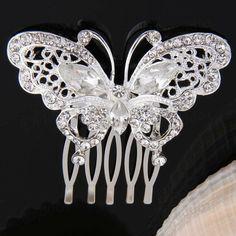 Shipped from USA- Beautiful Butterfly Hair Comb Silver Swarovski and Pearl Bridal Hair Comb, Bridal Hair Piece, Bridal Hair Clip