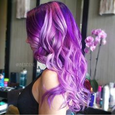 Purple, orchid and pink hair color by Linh Phan. hair painting color melt long purple hair hotonbeauty.com