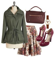 Vintage Floral Skirt Outfit with Trench Coat! Love this Vintage Fall Outfit with Green, Burgundy, and Floral!