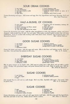 Vintage Cookies Recipes From 1940 (old fashioned sugar cookie recipes) Retro Recipes, Old Recipes, Cookbook Recipes, Vintage Recipes, Recipies, Homemade Cookbook, Cookbook Ideas, Family Recipes, 1950s Recipes