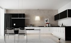 modern white and black kitchens. Black Kitchen Interior Design Ideas:adorable Astonishing With White Cabinet Modern And Kitchens Y Contemporary Kitchen Design, Interior Design Kitchen, Kitchen Designs, Modern Design, Interior Modern, Kitchen Themes, Kitchen Decor, Kitchen Ideas, Kitchen Storage