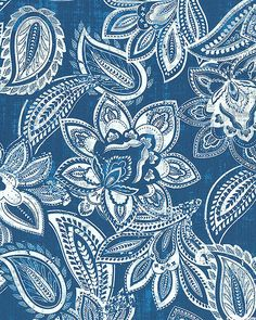 Bella Casa - Paisley Floral Impressions - Marine Blue. From eQuilter.com