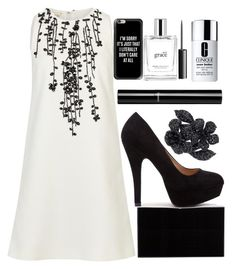 """""""Black And White Flowers"""" by egordon2 ❤ liked on Polyvore featuring Giambattista Valli, Charlotte Olympia, Chanel, Valentino, Casetify, Clinique, philosophy and MAC Cosmetics"""