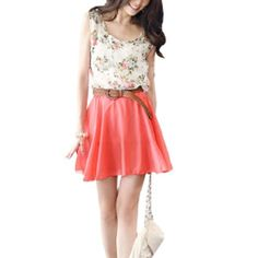 Amazon.com: Allegra K Women Flower Print Scoop Neck Sleeveless Elastic Waist Chiffon Dress White Watermelon Red XS: Clothing