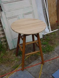 Repurposed bar stool table finished