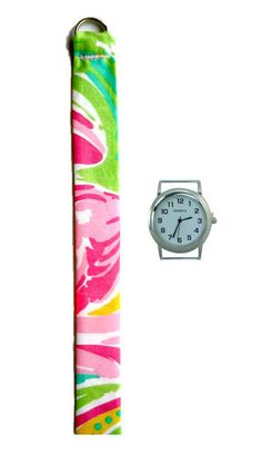 "2015 Lilly Pulitzer All Nighter Fabric Wrist Band with or without Silver Watch Face. The band is approximately 7/8"" wide and 9"" long with a D-ring closure"