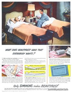 Simmons Beautyrest ad - looks like my parent's bedroom! Retro Advertising, Retro Ads, Advertising Signs, Vintage Advertisements, 1950s Ads, Vintage Humor, Vintage Ads, Vintage Posters, Vintage Girls