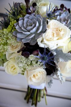 Succulent bouquet by Flower Allie, Casa Romantica San Clemente, Capturing Moments Photography, www.agoodaffair.com