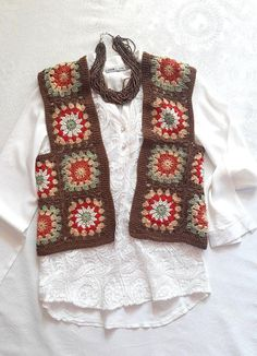 Crochet Patchwork Vest Boho Vest Granny Square Vest Festival Fashion Women Clothing Outwear Gift Ideas Fashion Accessories Made to Order - Crochet Boho Vest Granny Square Vest Festival Fashion Women Men Kids Clothing Outwear Gift Ideas Fa - Granny Square Sweater, Granny Square Häkelanleitung, Granny Square Crochet Pattern, Crochet Granny, Crochet Patterns, Granny Squares, Gilet Crochet, Crochet Shawl, Festival Mode