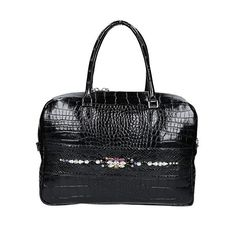 ANN3C FASHION BAG - Crocodile leather bag, Black available also in brown, with application of Python leather and Embroidery Swarosvski. MADE IN ITALY  #ann3c  #handbags #fashionbags #fashion  #python #pythonbags #italianbrands   #borse   #borsedonna   #fashion   #madeinitalybags   #madeinitaly