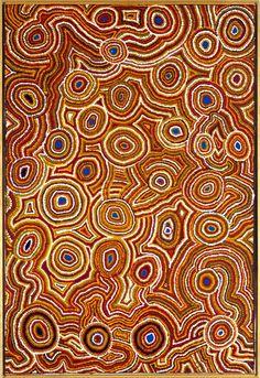 Contemporary Australian Art. Round. Orange blue. love.Joan Nagomara artist