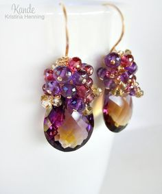 RESERVED Ametrine Gold Earrings Gemstone Drop Cluster Purple Amethyst Pink Garnet Champagne Yellow Citrine Wire Wrapped Kande Jewelry