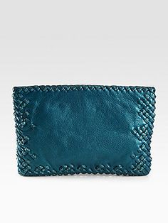 Bottega Veneta Maxi Python & Leather Woven Clutch