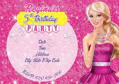 Barbie Birthday Party Invitation, FREE thank you card