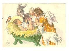 Vánoční přání 1946 Cosy Christmas, Christmas Cards, Believe In God, The Kingdom Of God, Vintage Cards, Tween, Postcards, Celebration, Baby Boy
