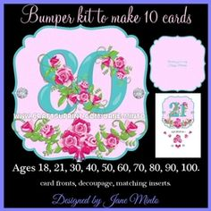 SPECIAL AGE TOPPERS   BLUE NUMBERS WITH ROSES   BUMPER KIT TO MAKE 10 CARDS on Craftsuprint - View Now!