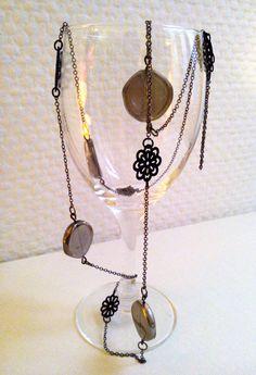 Long necklace 'Céleste' Glass beads and black by MercysFancy