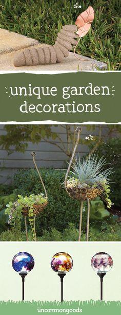 Unique garden decoration ideas for your backyard, front yard or walkway. Garden Crafts, Garden Projects, Garden Ideas, Patio Ideas, Pathway Ideas, Driveway Ideas, Fence Ideas, Garden Whimsy, Garden Fun