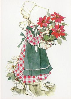 Holly Hobbie, Christmas w/ poinsettias Vintage Greeting Cards, Vintage Christmas Cards, Xmas Cards, Vintage Postcards, Christmas Past, Christmas Images, All Things Christmas, Christmas Crafts, Holly Hobbie