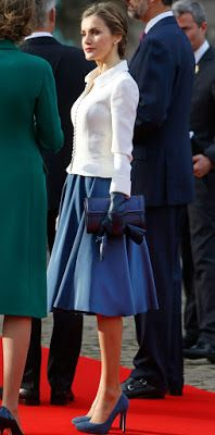King Felipe and Queen Letizia of Spain visit King Philippe and Queen Mathilde of Belgium at the Royal Palace in Brussels, Belgium, 12 November 2014.