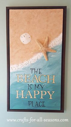 Beach canvas art - simple step by step directions to make your own at Crafts For All Seasons. Disney Canvas Paintings, Easy Canvas Painting, Summer Painting, Acrylic Painting Tutorials, Easy Paintings, Diy Painting, Beach Canvas Art, Diy Canvas Art, School Painting