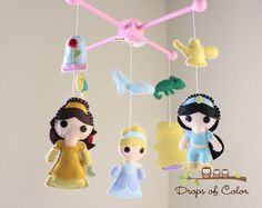 Baby Mobile - Baby Crib Mobile - Princess Mobile - Girl Nursery Room Decor - Disney Princesses (You Can Pick Other Custom Princesses) by dropsofcolorshop on Etsy https://www.etsy.com/listing/156025788/baby-mobile-baby-crib-mobile-princess