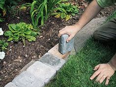 Separate your lawn and garden with a brick mowing strip.