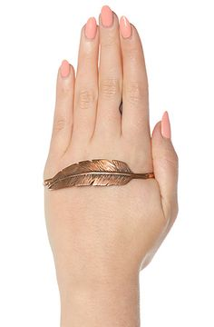 The Feather Hand Bracelet In Copper by SunaharA