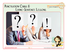"""Multi-sensory punctuation cards and four lessons all free! Get students actively involved in sentence variety lessons by conducting """"living sentence"""" role play challenges. (Punctuation cards and four lessons) 10 pages: Free Grammar And Punctuation, Teaching Grammar, Teaching Language Arts, Classroom Language, Teaching Writing, Teaching Tips, Teaching English, English Classroom, English Grammar"""