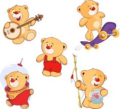 Cartoon cute bear vector set