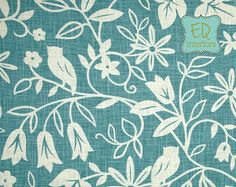 "Custom Designer Draperies: Duralee Suburban Chloris Birds Owls in Tree on Aegean Blue 108""L x 50""W"