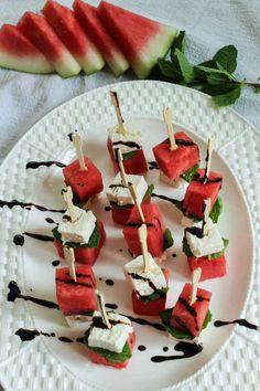 Watermelon, Feta, and Mint Skewers