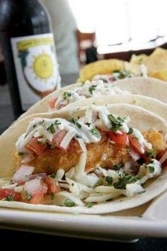 """""""Fish Tacos"""" from Twisted Rooster, locations throughout West Michigan Crispy Noodles, Dessert"""