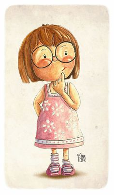 quenalbertini: A cute girl with glasses Little Girl Illustrations, Children's Book Illustration, Character Illustration, Cartoon Drawings, Cute Drawings, Cute Characters, Cute Cartoon, Cute Art, Cute Kids