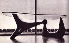 Rosewood and glass table by Isamu Noguchi