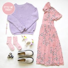 YES!! The sun is finally out for Fridays 'Style me'... Time for a pretty floral dress. As it's not quite warm enough yet, team it with our Lilac Beehive Knit. Hello Spring Time! http://www.thewhitepepper.com/collections/dresses/products/shirt-dress-in-floral-print