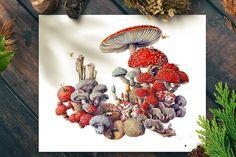 Art print of Mushroom painting by Martha Iserman aka Big Red Sharks Studios Mushroom Paint, Sharks, Studios, Illustration Art, Art Prints, Trending Outfits, Big, Unique Jewelry, Handmade Gifts