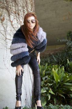 fox fur CO jacket - leather balenciaga leggings - karl sweatshirt