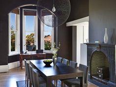 Classic dining room idea with hardwood & bay windows - Dining Room Photo 231984
