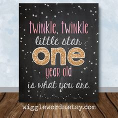 Twinkle Twinkle Party Decor Pink an Gold Twinkle by WiggleWords