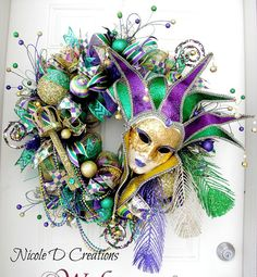 Mardi Gras Wreath Jester Mask Wreath Carnival Wreath Fat