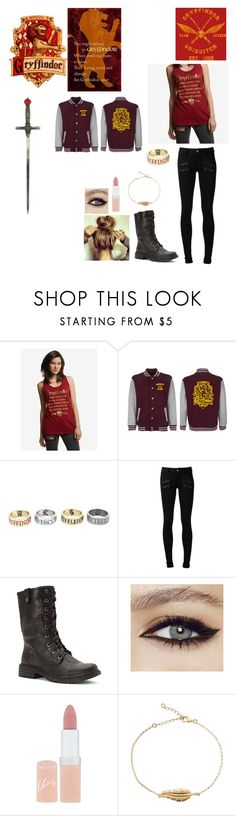 """""""Gryffindor"""" by xxtoo-happy-to-be-emoxx ❤ liked on Polyvore featuring Paige Denim, Wanted and Rimmel"""